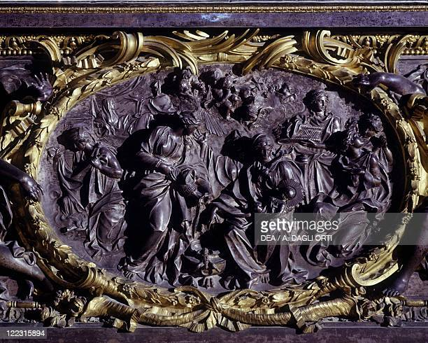 Italy Sicily region Palermo province Monreale Cathedral Interior main altar by Luigi Valdier Detail of the antependium with the Nativity of the Virgin
