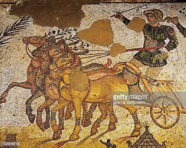 Italy Sicily Region Piazza Armerina Roman Villa of Casale Gymnasium Circus scene Quadrille Mosaic work Detail