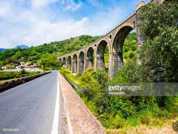 italy, sicily, san cataldo, historical railway bridge - province of caltanissetta stock photos and pictures