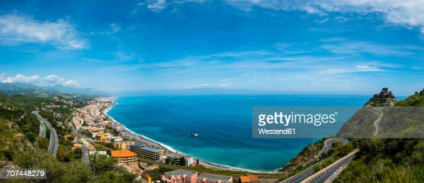 Italy, Sicily, SantAlessio Village, view to the coast of Sant Alessio Sculo from above