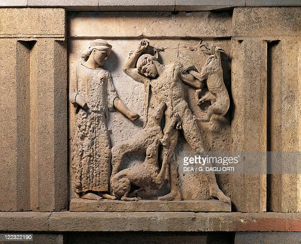 Italy, Sicily, Selinunte, Detile of Artemis and Actaeon, from metope of the Temple E also called Temple of Hera.