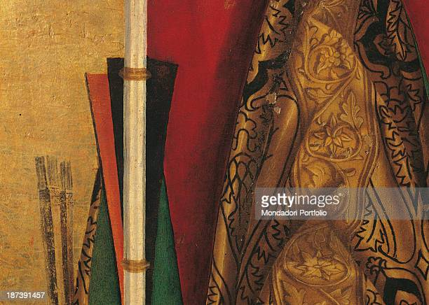 Italy Sicily Siracusa Tesoro della Cattedrale Detail An embroidered chasuble with drapery and a crosier The main colours are white red gold and black