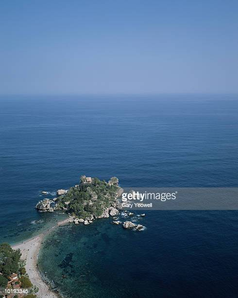 italy, sicily, taormina, isola bella, elevated view - yeowell stock pictures, royalty-free photos & images