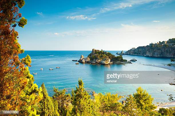 italy, sicily, taormina, isola bella - taormina stock pictures, royalty-free photos & images
