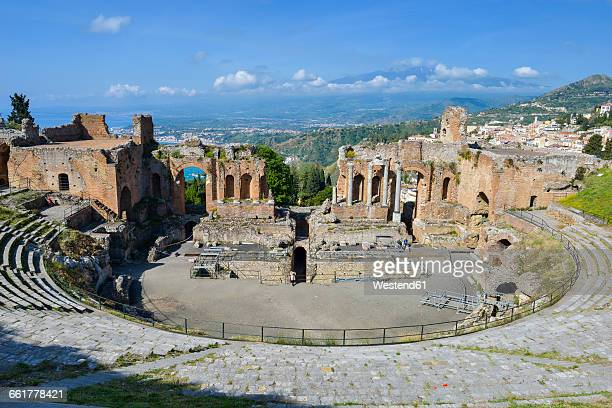 teatro greco taormina stock photos and pictures getty images