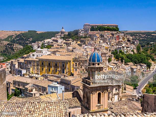 italy, sicily, val di noto, view over ragusa ibla - baroque stock pictures, royalty-free photos & images