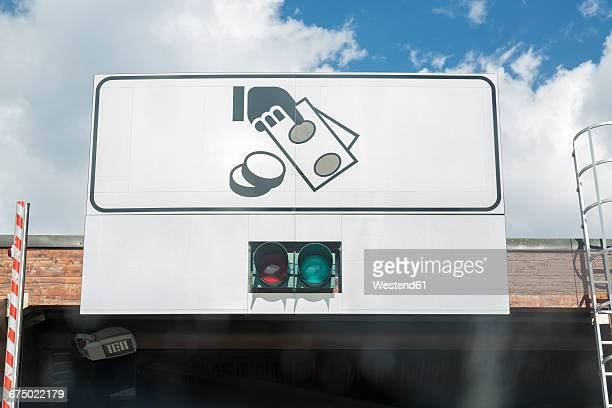 Italy, sign of toll booth