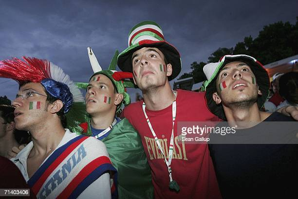 Italy soccer fans watch the FIFA World Cup 2006 finals match between France and Italy at the Fan Fest outdoor viewing area July 9 2006 in Berlin...