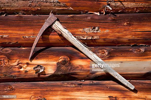 Italy, South Tyrol, Alpine hut with old pike at South Tyrol
