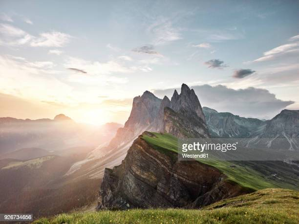 italy, south tyrol, dolomites, st.ulrich in groeden, seceda at sunrise - mountain peak stock pictures, royalty-free photos & images