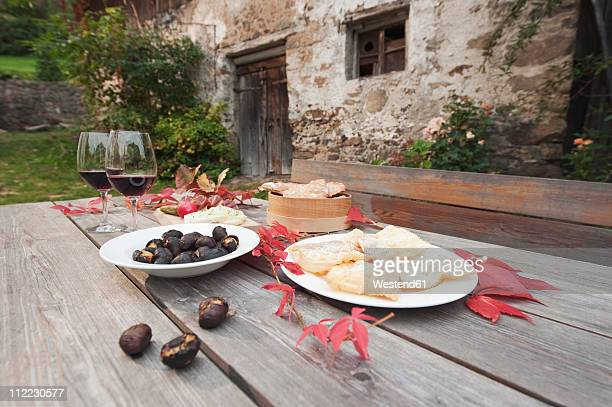 Italy, South Tyrol, Ready snacks on table