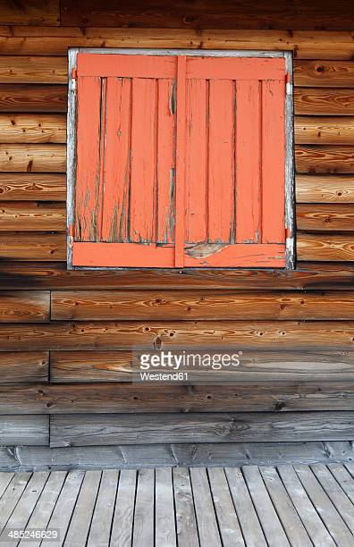 Italy, South Tyrol, Vinschgau, Window at wooden house at Stelvio Pass