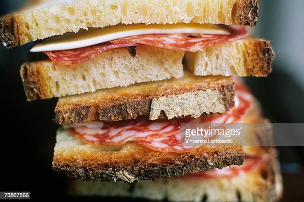 italy, stack of italian sandwiches - pepperoni stock photos and pictures