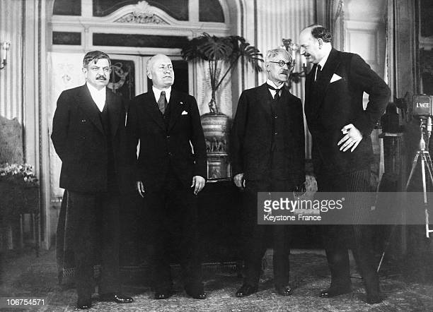 Italy Stresa Conference Benito Mussolini Pierre LavalRamsay Mac Donald And Pierre Etienne Flandin On April 11Th 1935