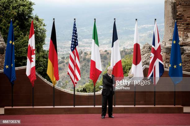Italian Prime Minister Paolo Gentiloni waits the arrival of world leaders at the Ancient Theatre of Taormina ahead the G7 Summit on May 26 2017