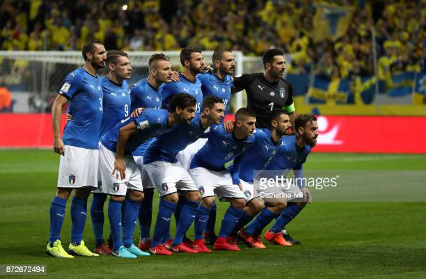 Italy team group during the FIFA 2018 World Cup Qualifier PlayOff First Leg between Sweden and Italy at Friends arena on November 10 2017 in Solna...