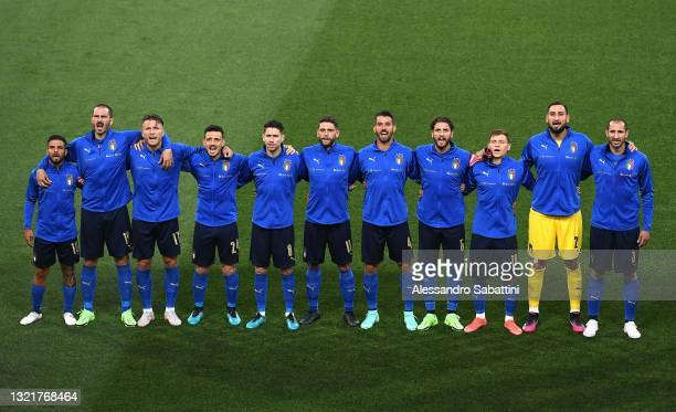 Italy team line up during the international friendly match between Italy and Czech Republic at Renato Dall'Ara on June 04, 2021 in Bologna, Italy.