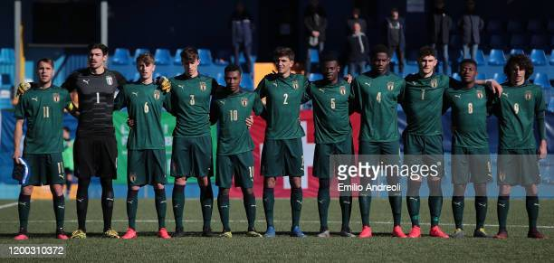 Italy team line up for the anthems during the International Friendly match between Italy U19 and Switzerland U19 at the Stadio Rigamonti-Ceppi on...