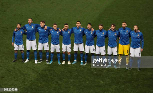 Italy team line up for the anthems prior to the FIFA World Cup 2022 Qatar qualifying match between Italy and Northern Ireland on March 25, 2021 in...