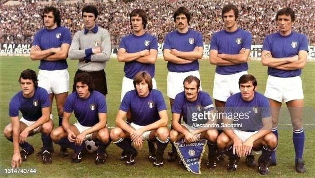 Italy team line up Giorgio Chinaglia, Dino Zoff, Roberto Rosato, Aldo Agroppi, Luciano Spinosi, Luigi Riva Fabio Capello, Franco Causio, Gianpiero...