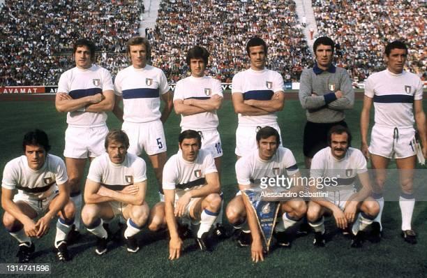 Italy team line up Giorgio Chinaglia, Morini Francesco, Gianni Rivera, Luciano Spinosi, Dino Zoff, Luigi Riva Fabio Capello, Romeo Benetti, Tarcisio...
