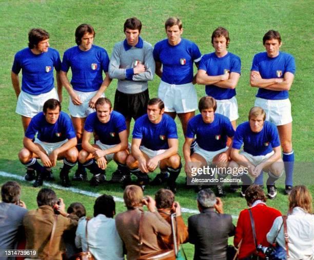 Italy team line up Mario Bertini, Roberto Boninsegna, Dino Zoff, Giacinto Facchetti, Roberto Rosato, Luigi Riva, Pierluigi Cera, Sandro Mazzola,...