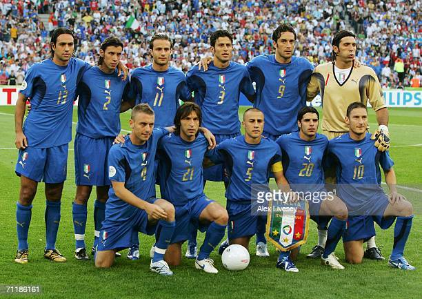 Italy team line up prior to the FIFA World Cup Germany 2006 Group E match between Italy and Ghana played at the Stadium Hanover on June 12 2006 in...