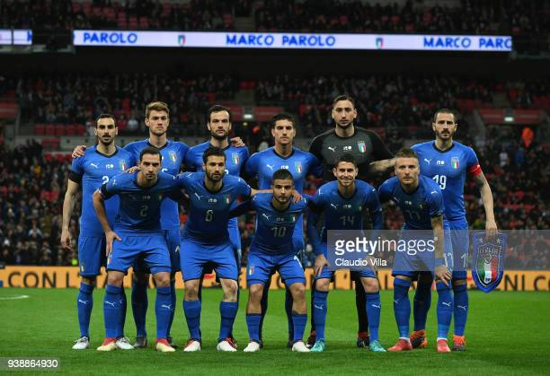 Italy team line up prior to the International friendly football match between England and Italy at Wembley Stadium on March 27 2018 in London England