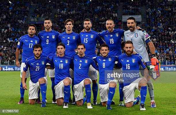 Italy team lines up during the FIFA 2018 World Cup Qualifier between Italy and Spain at Juventus Stadium on October 6 2016 in Turin Italy