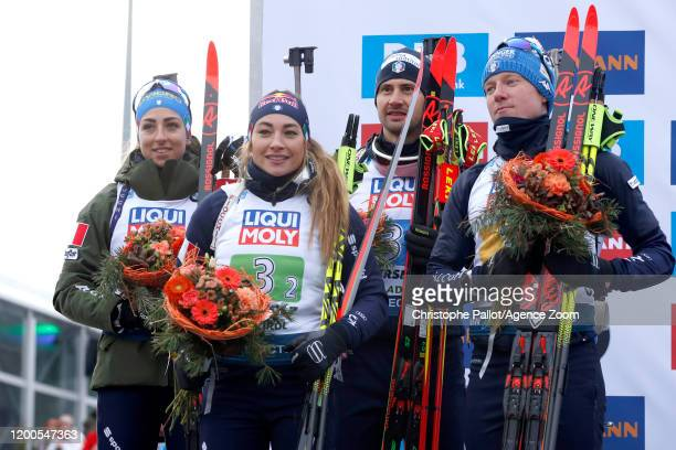 Italy Team takes 2nd place during the IBU Biathlon World Championships Men's and Women's Mixed Relay on February 13 2020 in Antholz Anterselva Italy
