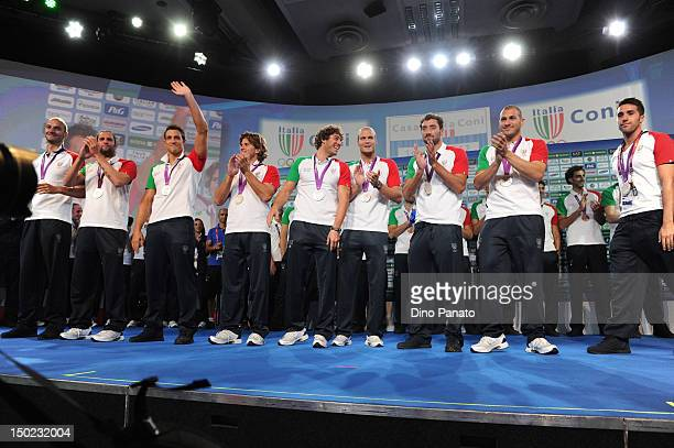 Italy teams celebrates silver medal the water polo in Casa Italia at London 2012 Olympic Games at The Queen Elizabeth II Conference Centre on August...