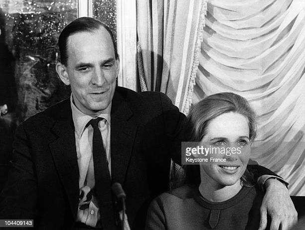 Italy the Swedish director and filmmaker Ingmar BERGMAN with his wife the Norwegian actress Liv ULLMAN on a press conference The couple was...