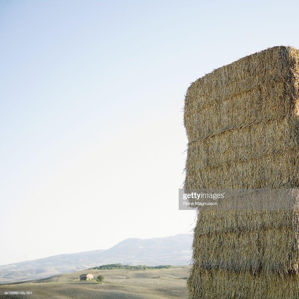 Italy, Toscana, San Quirico d'Orcia, haystacks in field : Stockfoto