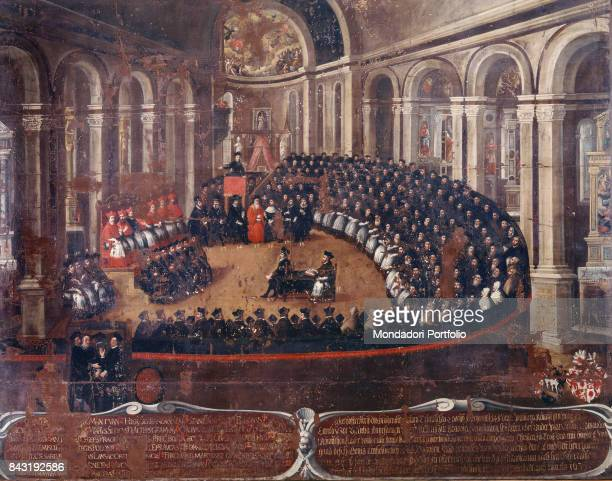 Italy TrentinoAlto Adige/Sà¼dtirol Trento Buonconsiglio Castle Whole artwork view Delegates of catholic nations meeting in the church of Santa Maria...