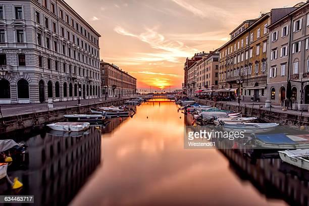 italy, trieste, canal grande at sunset - トリエステ ストックフォトと画像