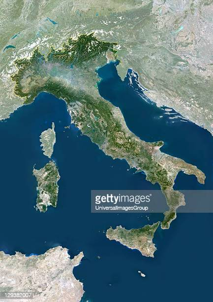 Italy true colour satellite image with mask and border Italy comprises the large peninsula at centre and the large islands of Sicily and Sardinia It...