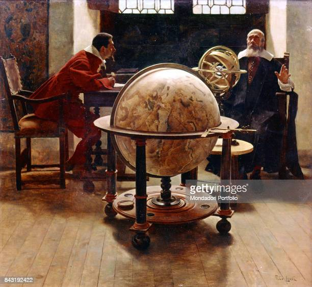 Italy, Tuscany, Arcetri, Arcetri Observatory. Whole artwork view. Italian physician and astronomer Galileo Galilei conversing with his disciple and...
