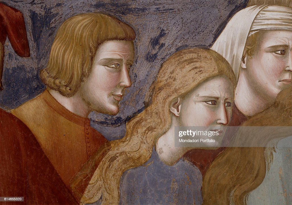 Italy, Tuscany, Assisi, Upper Church of the Basilica of St.Francis in Assisi. Detail. Observers look at the dying man with worried eyes. In the foreground, a woman with long, brown hair.