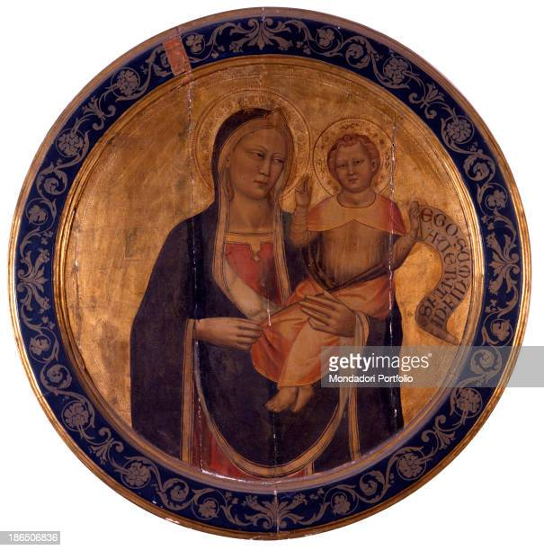 Italy Tuscany Florence Acciaiuoli Palace Whole artwrk view Golden roundel with Madonna and Child holding a cartouche All over the edge a phitomorphe...