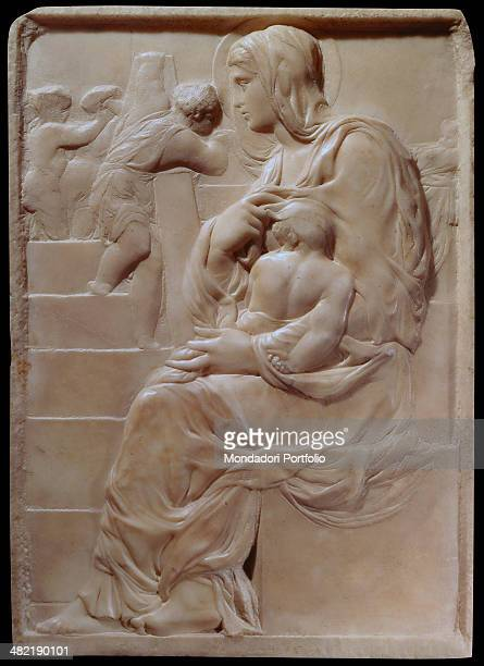 Italy Tuscany Florence Buonarroti House Whole artwork view Madonna seated with Baby Jesus in her arms at the foot of a staircase where three small...