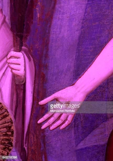 Italy Tuscany Florence Cappella Bardi di Vernio Basilica di Santa Croce Detail The sore on Jesus Christ's hand