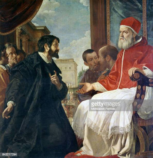 Italy Tuscany Florence Casa Buonarroti Whole artwork view The sculptor and painter Michelangelo Buonarroti kneeling in front of the pope Julius II