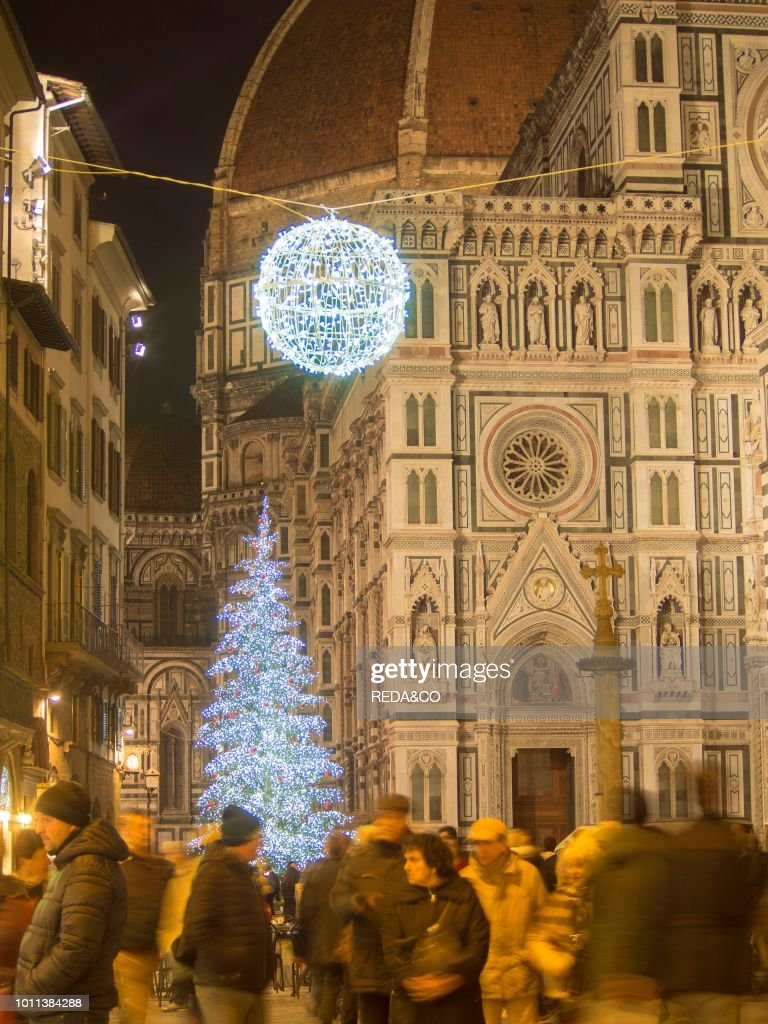 Christmas In Florence Italy.Italy Tuscany Florence Cathedral And Christmas Tree And