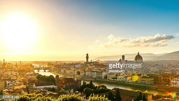 Italy, Tuscany, Florence, Cityscape in the evening light