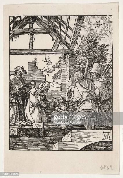 Italy, Tuscany, Florence, Gabinetto Disegni e Stampe degli Uffizi. Whole artwork view. The Holy Family getting the adoration two shepherds.