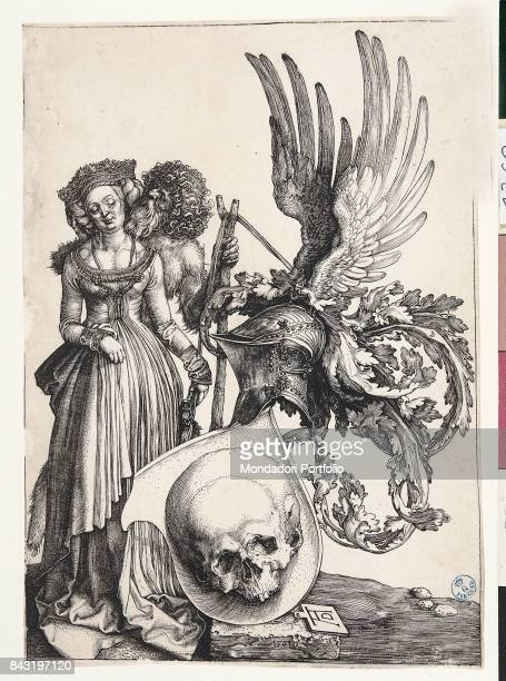 Italy Tuscany Florence Gabinetto Disegni e Stampe degli Uffizi Whole artwork view Insignia with a skull and a winged helmet above it Beside it a male...