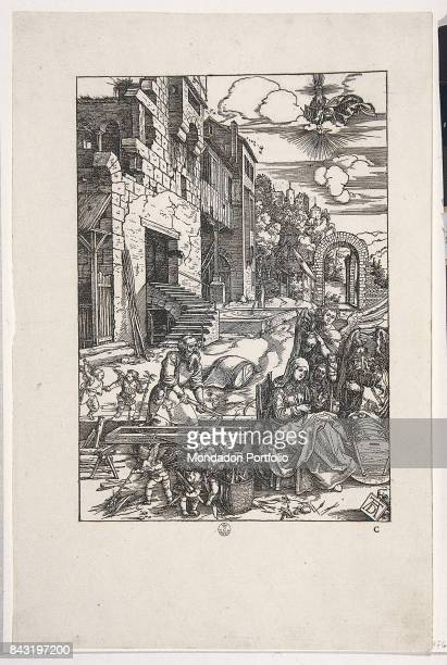 Italy, Tuscany, Florence, Gabinetto Disegni e Stampe degli Uffizi. Whole artwork view. Saint Joseph working the wood helped by some putti. Mary and...
