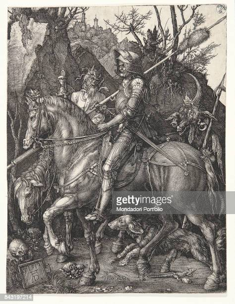 Italy Tuscany Florence Gabinetto Disegni e Stampe degli Uffizi Whole artwork view A knight riding his horse beside his dog and being followed by the...