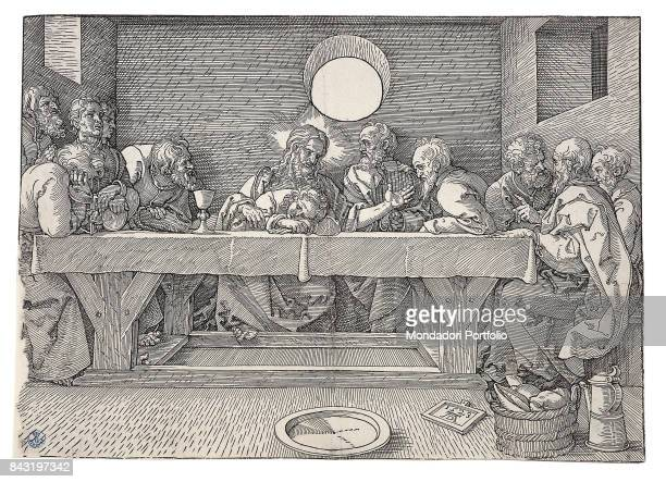 Italy Tuscany Florence Gabinetto Disegni e Stampe degli Uffizi Whole artwork view Jesus Christ and the apostles sitting at the table for the Last...
