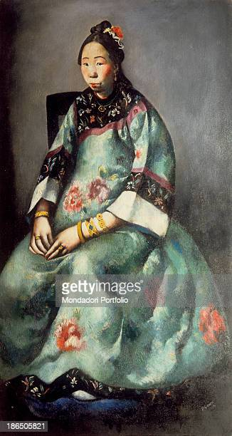 Italy, Tuscany, Florence, Modern Art Gallery, Whole artwork view, Exotic and decadent portrait of a Chinese woman, Marry Quien's maid, with whom the...